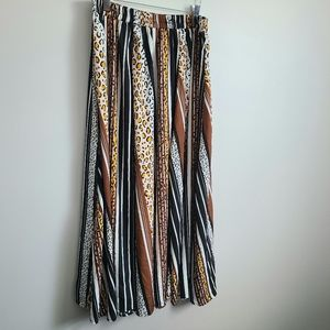 PLUS SIZE XL Leopard & Stripe Print Maxi Skirt